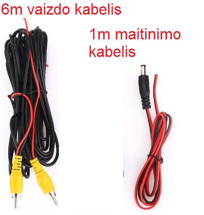 Vaizdo+maitinimo kabelis galinio vaizdo kamerai